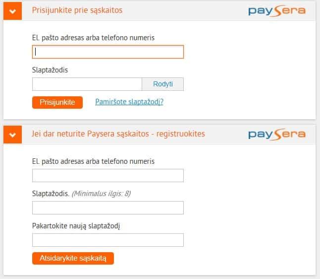 P2P skolinimas: Paysera sąskaitos papildymas