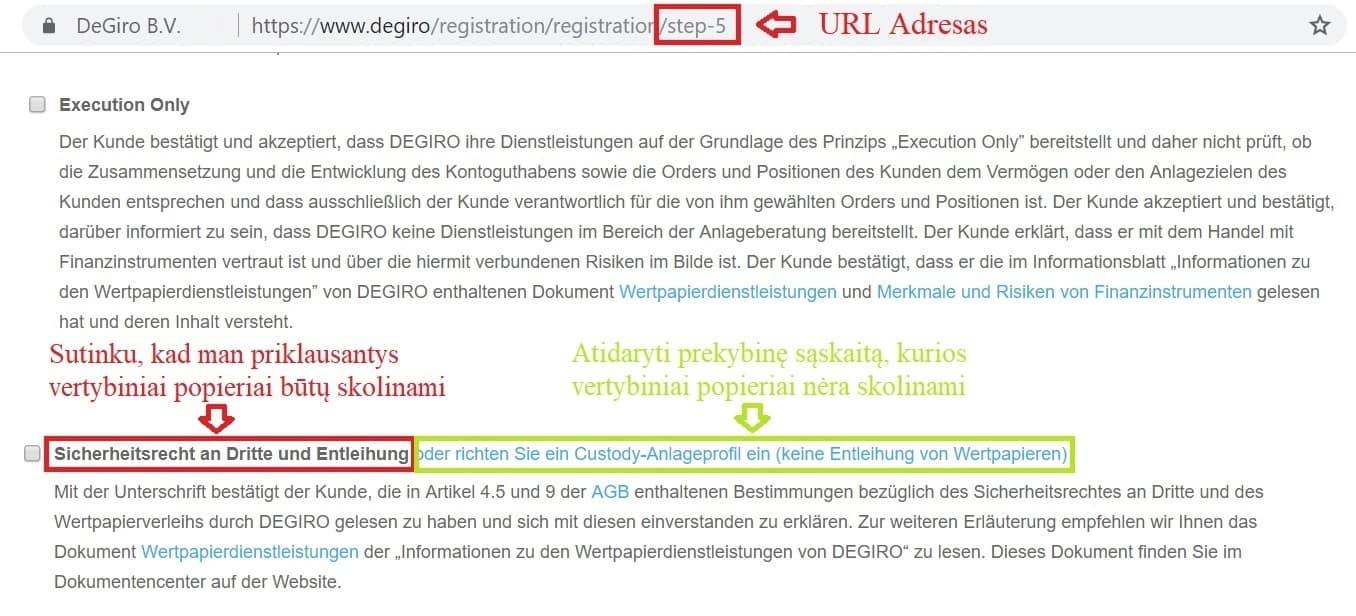DEGIRO custody prekybinės sąskaitos atidarymas